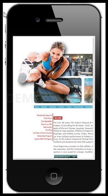 Auburn Racquet & Fitness Club Mobile Demo